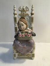 """Lladro #1398 """"Reverie"""" Valencian Girl Chair Flowers MINT Condition"""