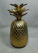 """Metal Pineapple Jar Container Canister with Lid 9 1/2"""" Tall Modern Decor"""