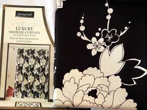 2-Pc Springmaid DRAMA Black & Ecru Big & Bold Floral Shower Curtain w/ Liner NIP