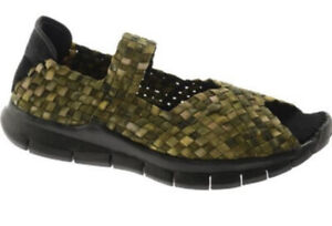 Bernie Mev COMFI Basket Weave Mary Jane Comfort Sandals Green Camo 39 US 8.5