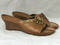 Clarks Artisan Shoes Women's Size US 8 M Slip On Mules Medium Heel Beaded Design