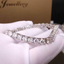 13.5Ctw 4mm Round Brilliant Diamond Tennis Bracelet Prong Set 14K White Gold F