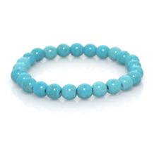 UK Turquoise Crystal Gemstone Bead Bracelet. Reiki Healing Chakra Yoga Ohm