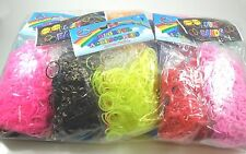 10PACKS (3000PIECE) Rainbow Color Loom Rubber Bands Bracelet Refill w/24pc SClip