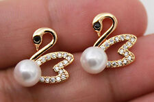 18K Gold Filled - Black Onyx Zircon Pearl Hollow Swan Topaz Wedding Earrings