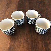SET of 4 Folk Craft Tienshan Moose Country Ceramic Coffee Mugs Cups Green Sponge