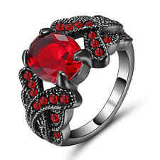 Black Rhodium Plated Engagement Ring Size 8 Jewelry Fashion Gift Red Ruby