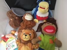 Hand Puppet Lot of 6 Includes Beaver Parrot Boy Lion Monkey Old McDonald Wildkin