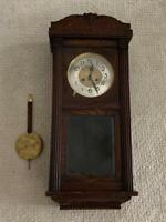 "Antique 31"" Wall Clock // carving on cabinet // pendulum // brass dial // Maker?"