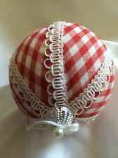 Gingham Pattern Red White Fabric Covered Country Christmas Tree Ornament Ball