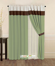4-Pc Striped Solid Modern Curtain Set Sage Green Brown Beige Valance Liner Drape