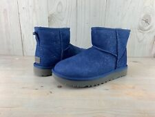 UGG CLASSIC MINI MILKY WAY DARK DENIM SUEDE SHEEPSKIN BOOTS WOMENS us 7 nib