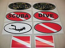 GREEN SCUBA DIVE FLAG OVAL Sticker Decal LOT Camo Camoflage 4 boat car Truck