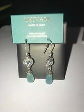 Shivam Made in India .925 Sterling Silver Aqua Chaleedoney/Blue Topaz Earings