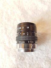 Cosmicar Pentax TV Lens 16mm f1.4 C Mount Lens.