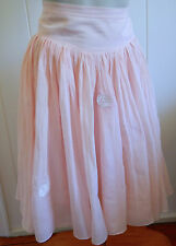 Country Road fine cotton/silk pale pink lace flower full skirt size 8 - 10