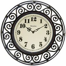 Large Clock Silent Modern Quartz Design Indoor/Outdoor Bronze New