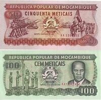MOZAMBICO 50 100 METICAIS 2 BANCONOTE FDS UNC MOZAMBIQUE