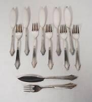 WMF Fächermuster Fischbesteck 90er Silber Auflage 12 Teile 6x Gabeln + 6x Messer