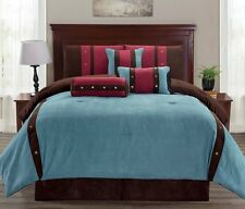 7 pc Micro Suede Teal, Brown and Burgundy Striped Comforter Set King Size .