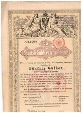 Staatsschuldverschreibung Österreich, Wien 1868, 50 Gulden