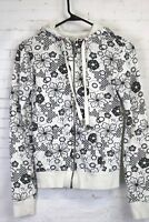 Aeropostale womens misses SMALL full zip hoodie sweatshirt, black & white floral