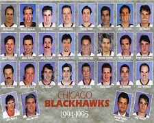 1994-95 CHICAGO BLACKHAWKS 8X10 TEAM PHOTO ROENICK CHELIOS PROBERT BELFOUR