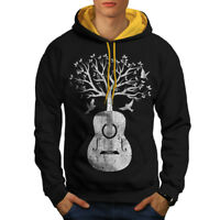 Wellcoda Guitar Music Tree Mens Contrast Hoodie, Life Casual Jumper