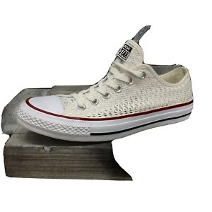 Converse All Star 551541F White Lattice Wedding Tennis Shoes Women's Size 8.5