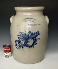 Antique Stoneware: Huge 20# 6G NY Pickle Jar w/ Cobalt Floral, Fort Edward, 1861