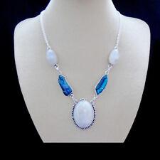Mondstein, blau, weiß Biwa Perle Kette Halskette, Collier, Silber plattiert neu