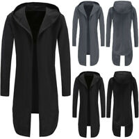 Men's Winter Warm Trench Coat Jacket Hoody Cardigan Sweatshirt Long Capes Cloak