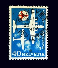 Switzerland Stamps 1956  Air Planes  Events  Used Very Clear Cancel Stamps