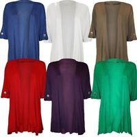 3/4 Sleeve Plain Waterfall Open Cardigan Womens Ladies Plus Size Party Wear Top