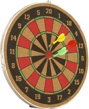 STURDY WOODEN DART BOARD 12 INCHES DOUBLE SIDE DART BOARD WITH 3 BRASS TIP DARTS