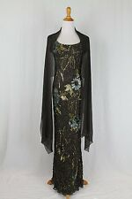 Terani Couture Beaded  Sequined Silk Cap Sleeve Bias cut Gown & Matching Shawl 4