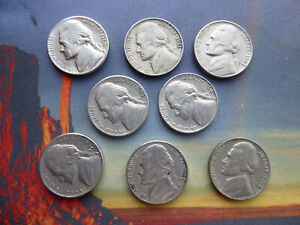 8 x US American 5 cent coins,1960,s