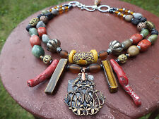 BOHEMIAN Coral Tigers Eye Jasper+ gems AFRICAN brass Filigree Statement NECKLACE