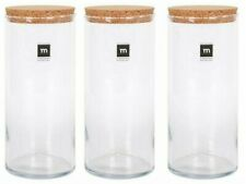 3x RUSTIK ROUND HANDMADE Glass jar bottle food container with cork 2L 11X26cm