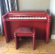 More details for red & chrome piano & matching stool, art deco 1930s by royal appointment
