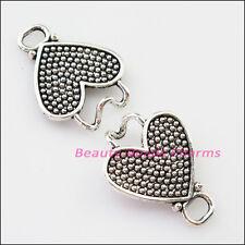 2Sets Tibetan Silver Heart Bracelet Toggle Clasps Connectors 22x53mm
