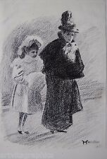 Nikolaus von Massalow Frau m. Mädchen Bleistift Zeichnung signiert Impressionist