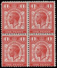 SG435 1929 PUC 1d. Broken wreath. Block of 4. Variety stamp unmounted. E1846