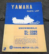 Original 1971 Yamaha SL-338B/1972 SL-338C Snowmobile Parts List/Manual SL338B