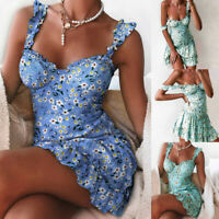 Womens Boho Floral Sexy Strappy Mini Dress Summer Holiday Beach Party Sundress