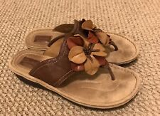 Clarks Artisan 83487 Brown Leather Flower Thong Sandals Slides Women's Size 10