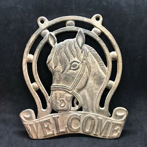Cast Iron HORSE Head  WELCOME Cowboy Plaque Sign Rustic Ranch Wall Decor Western