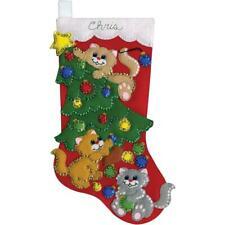 Design Works Felt Applique Christmas Stocking Kit Decorating Kittens Complete