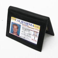 Black Mens LEATHER Bifold Wallet ID Window Credit Card Holder Front Pocket