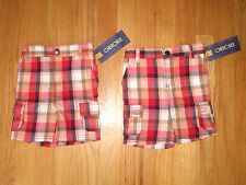 Twin boys RED ORANGE WHITE BLUE TAN Stripe Plaid Cargo shorts NWT 12m
